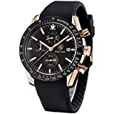 BENYAR Fashion Business Casual Waterproof Timing Quartz Men's Watch, Silicone/Leather/Stainless Steel Comfort Strap (Black)