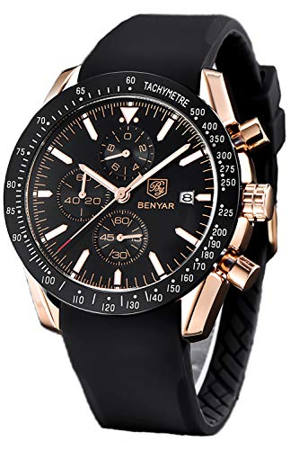 BENYAR Fashion Business Casual Waterproof Timing Quartz Men's Watch, Silicone/Leather/Stainless Steel Comfort Strap (Black) ()