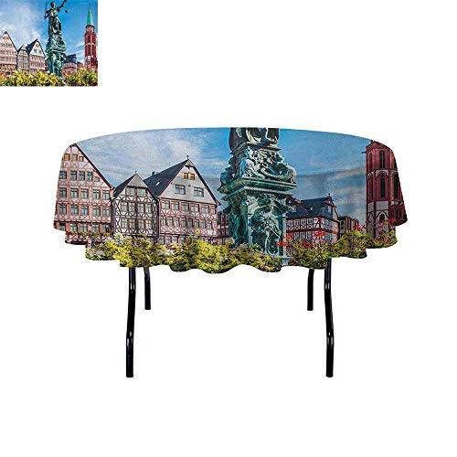 Douglas Hill European Waterproof Anti-Wrinkle no Pollution Old City of Frankfurt Germany with Historical Buildings Statue Cityscape Scenery Table Cloth D67 Inch Multicolor -