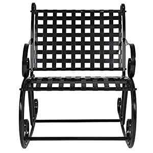 Best Choice Products Patio Iron Scroll Rocker Porch Rocking Chair Outdoor Seat Antique Black
