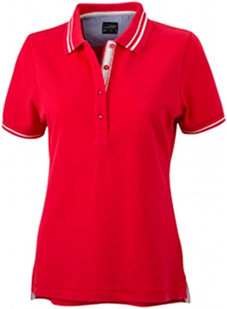 James & Nicholson Ladies Lifestyle Polo, Mujer, Rojo/Blanco, M ...