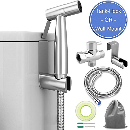 ADVcer Bidet Sprayer Attachment Kit - Pressure Adjustable T-valve, Brushed Stainless Steel Hand Held Bidets Shattaf, 46.2