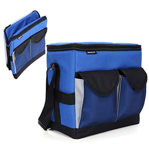 MIER 30Cans Collapsible Soft Cooler Bag Insulated Picnic Lunch Bag for Adult, Men, Women, Leakproof Liner, Blue, Large - Insulated Wine Cooler Bag
