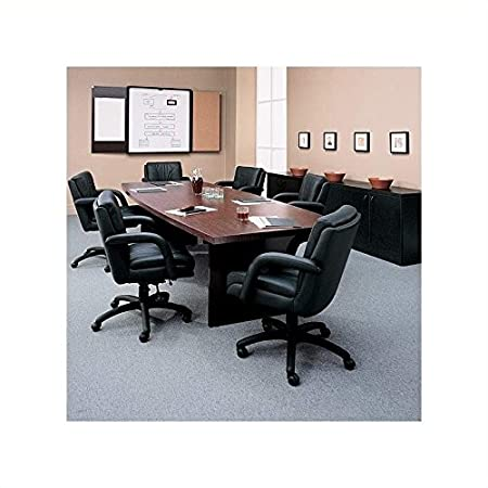 Global Total Office Boat Shaped 8' Conference Table with Slab Base - Mahogany - Mahogany