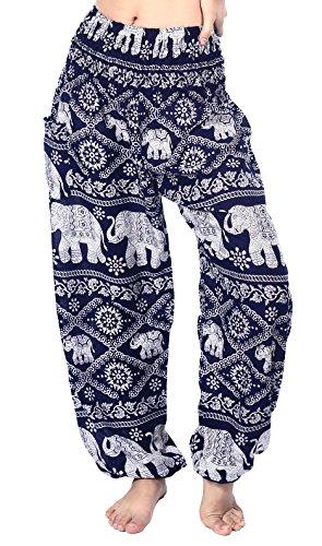 Boho Vib Women's Rayon Elephant Print Boho Harem Yoga Pants (L/XL, Elephant 1 Dark Blue)