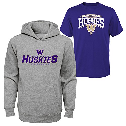 Outerstuff NCAA Youth Boys 8-20 U. Washington Tee & hood Set, L, Assorted