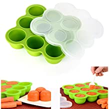 Cisixin Silicone Baby Food Freezer Tray with Clip-on Lid Makes Storing Baby Food, Ice Cubes, Herbs, Juice & More Easy (Green)