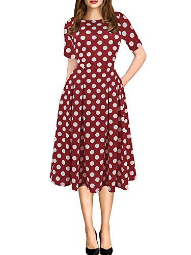 (oxiuly Women's Retro Dot Patchwork Pocket Puffy Swing Casual Party Dress OX165 (M, red)