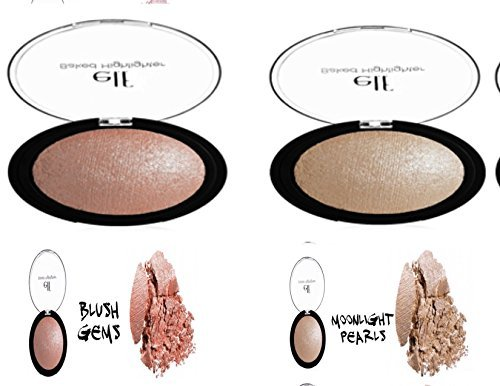 2 Pack ~ e.l.f.Studio Baked Highlighter (Moonlight Pearls & Blush Gems) (Elf Baked Blush Gems)