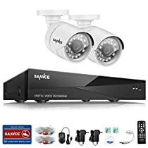 SANNCE 8CH 1080N Security Camera Video DVR and (2) 720p HD Weatherproof Surveillance Security Camera System with Remote Access, Motion Detection-NO HDD