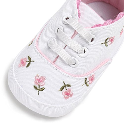 Filles Semelle Bébé Infantile dérapant Berceau luckygirls Mois Florales 0~18 Sneakers Chéri Blanc Anti Molle Toile Chaussures Lacer De wCIq5Sz