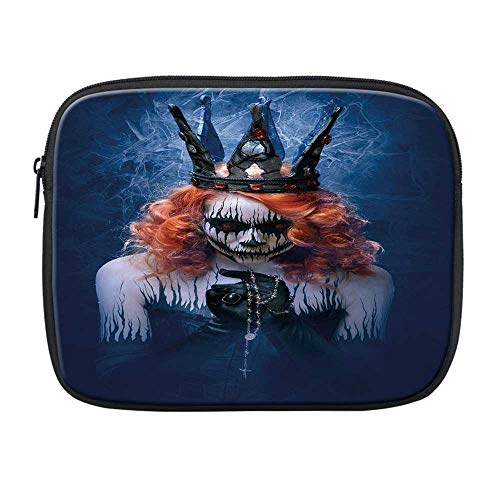 Queen Compatible with Nice iPad Bag,Queen of Death Scary Body Art Halloween Evil Face Bizarre Make Up Zombie for Office,One Size -