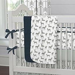 Carousel Designs Navy and Gray Deer Crib Blanket