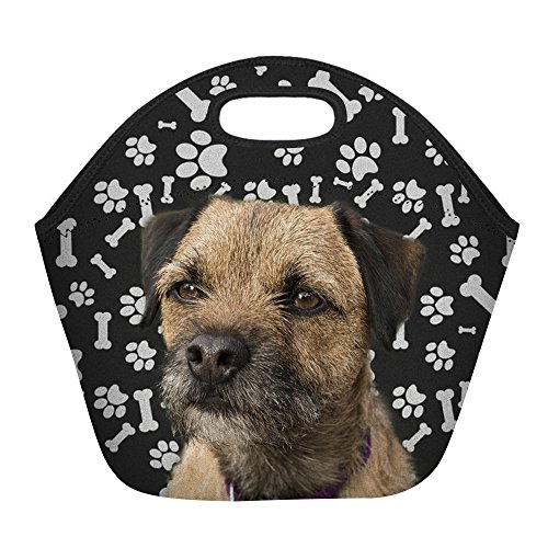 (Border Terrier Puppy Dog Paws Print Insulated Lunch Bag for Women Men or Kids, Hot/Cooler Multi-purpose Work/Picnic Tote)