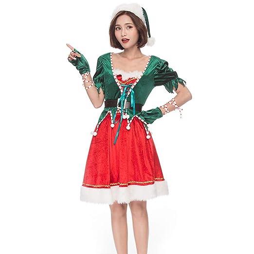 XIADE Disfraz de Duende navideño Conjunto de 4 Piezas para Mujer ...