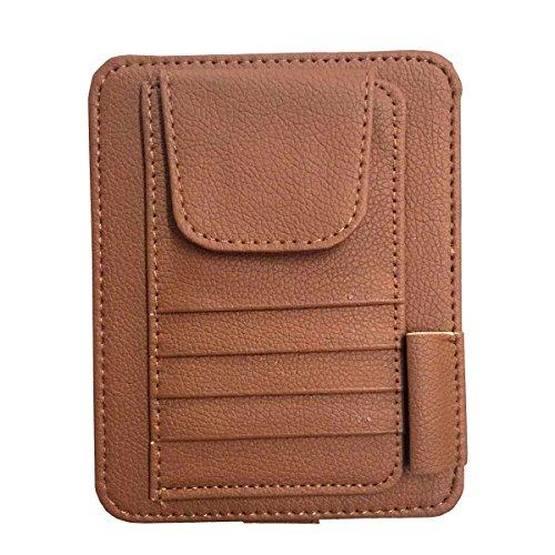 Brown Artificial Shade (Yolu Muti-functional Auto Car Sun Visor Sunglass Holder Card Storage Holder Pouch Bag Brown)