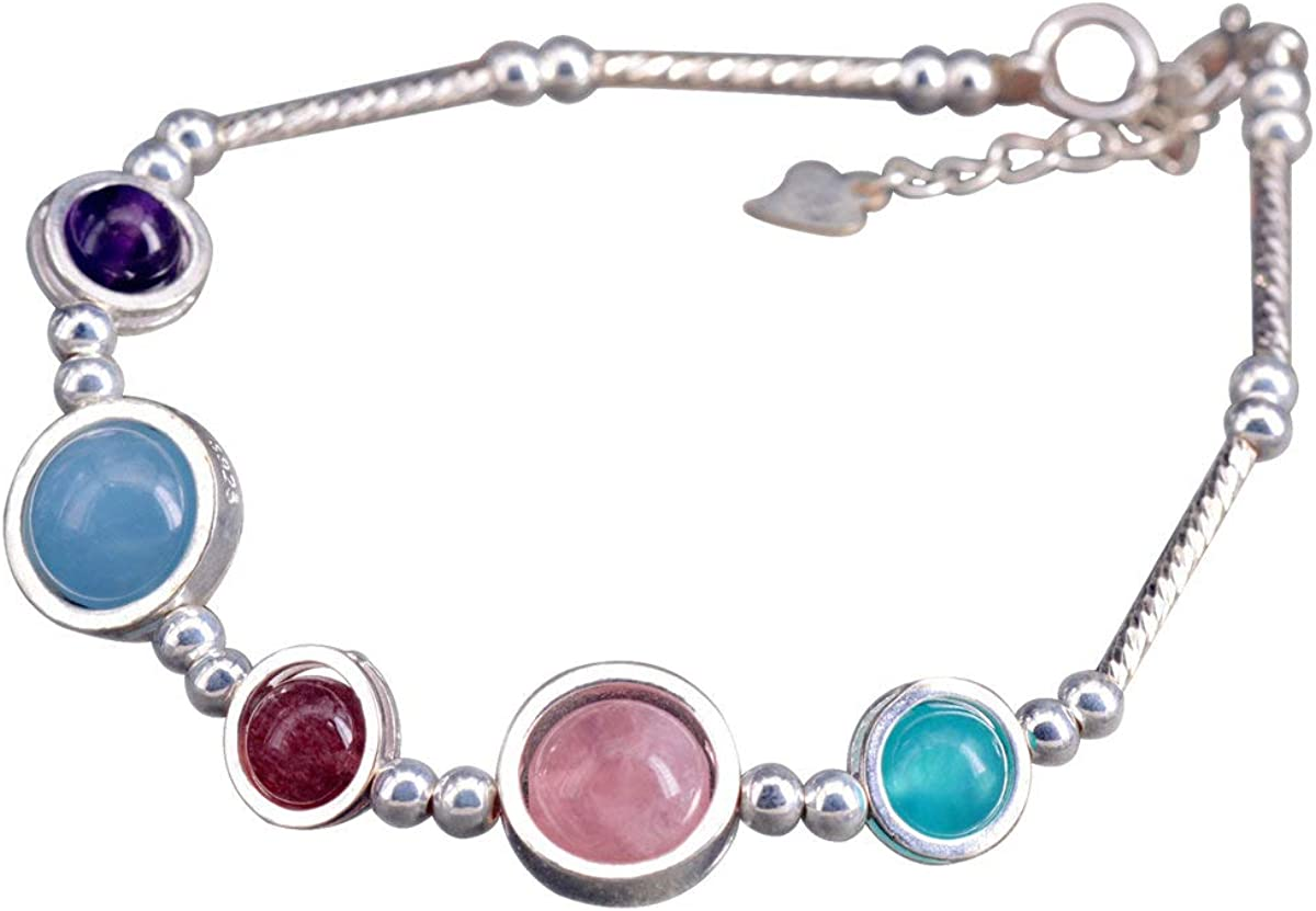 NicoWerk SAB201 - Pulsera de plata para mujer, multicolor, de plata de ley 925, bola de cuarzo rosa, aguamarina, amatista con piedra preciosa