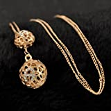 Fashion Womens Elegant Double Hollow Ball Pendant Long Chain Necklace Jewelry#by pimchanok shop (Gold)