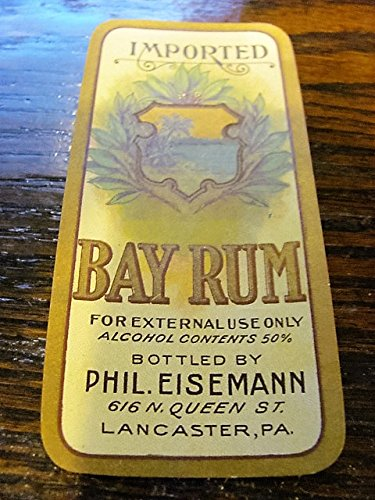 small 1920s BAY RUM bottle label