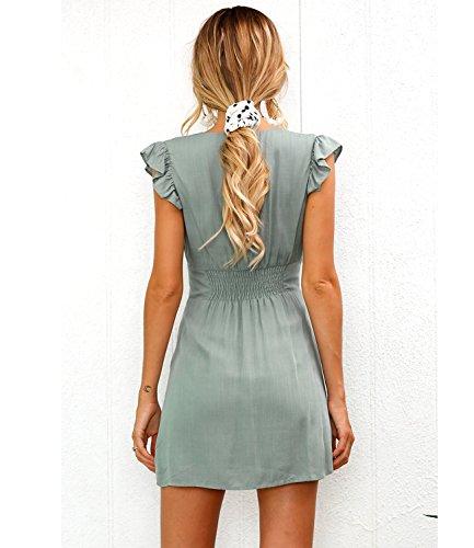 Green Womens Deep Dress Neck Mansy Sleeveless V Button 7R0qxPwT