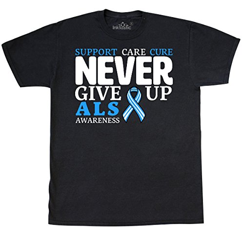 Als T-shirts Cure (inktastic - Support, Care, Cure Never Give Up ALS T-Shirt Large Black 29c32)