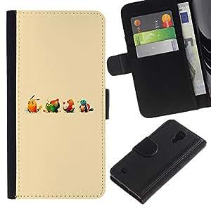 NEECELL GIFT forCITY // Billetera de cuero Caso Cubierta de protección Carcasa / Leather Wallet Case for Samsung Galaxy S4 IV I9500 // Lindo empuje Ilustración de dibujos animados Monster