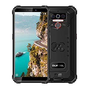 OUKITEL WP5 (2020) Rugged Cell Phones Unlocked Android 10 Smartphone 8000mAh Battery Triple Camera 4 LED Flashlights 4GB+32GB IP68 Waterproof 5.5 HD+ Global GSM 4G Dual SIM Phone Face ID Fingerprint