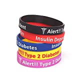 Type 2 Diabetes Insulin Dependent Assorted Colors Silicone Medical Bracelets 5 Pack