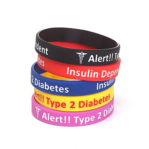 AMOZO Type 2 Diabetes Insulin Dependent Assorted Colors Silicone Medical Bracelets 5 ()