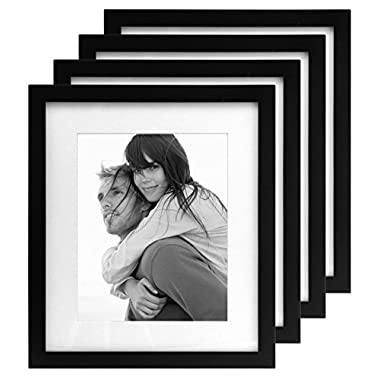 Malden International Designs Matted Linear Classic Wood Picture Frame, Holds 8x10 Photo, 4 Pack, Black