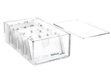 Maul 1956305 Acryl Visitenkartenbox Magnetverschluss Az Register Circa 400 Karten 114 X 190 X 70 Mm