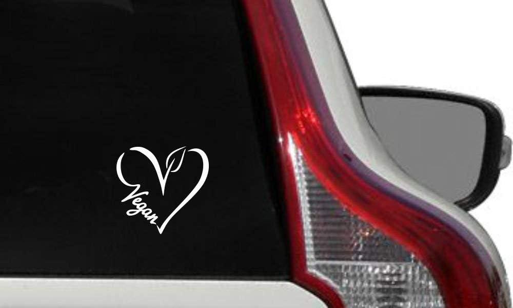 Vegan Heart Outline Text Car Vinyl Sticker Decal Bumper Sticker for Auto Cars Trucks Windshield Custom Walls Windows Ipad MacBook Laptop Home and More (White)