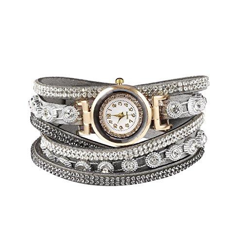 Nessere Women Fashion Casual Decor Round Rhinestone Bracelet Watch (Gray Round Bracelets)