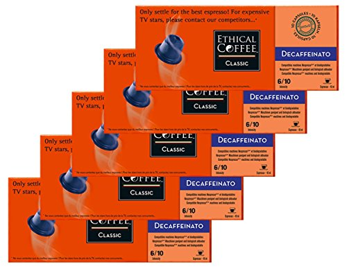 Nespresso® Compatible Coffee Capsules by ETHICAL COFFEE- DECAFFEINATO - 50 Capsules - 6/10 Intensity