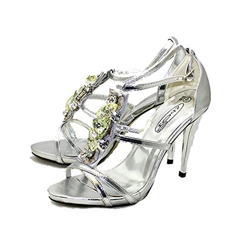 With Silver Bar Sandals Heel Party SendIt4Me High Jewelled t vwOfqOAgS
