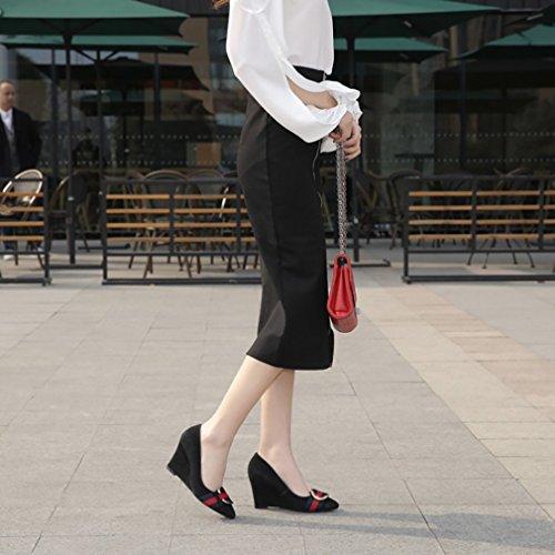 UK Heel Court 8 5 5CM Women Slip Pointed vadxpg Toe Black 4 Vaneel on Shoes Wedge wAUqZ0An