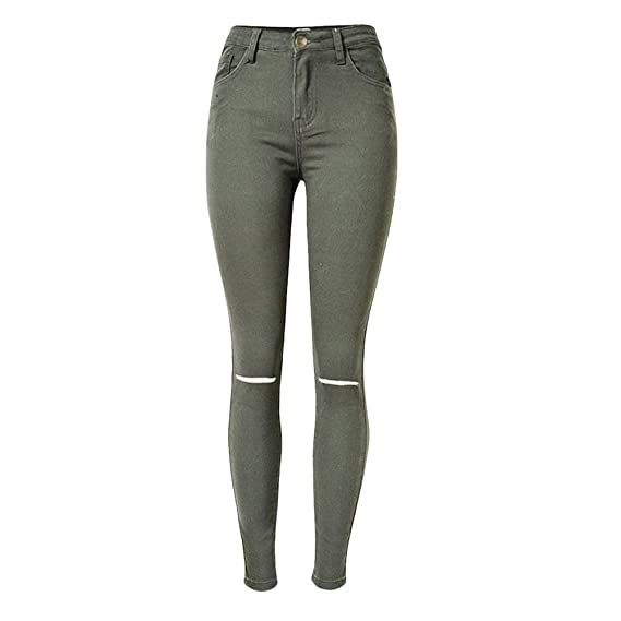 Pantalon Déchiré Taille Crayon Ville À De La Par Mode Haute mNPyv8wO0n