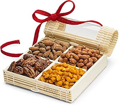 Gourmet Nuts Gift Baskets ~ Holiday Nut Gifts, Christmas Baskets or Thanksgiving Food Baskets ~ 4 Sectional Nut Tray with Stunningly Presented Nut Basket ~ Nut Gift Box and Assorted Nuts Snack Basket