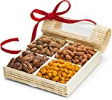 Gourmet Nuts Gift Baskets ~ Great Nut Assortment for Holiday, Corporate, Fathers Day or Thanksgiving ~ 4 Sectional Nut Basket with Stunningly Presented Nut Tray ~ Nut Gift Box and Assorted Nuts by