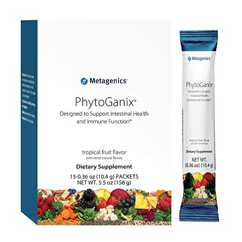 Metagenics - PhytoGanix Superfoods Powder, Natural Tropical Fruit Flavor, 15 Packets - Non-GMO, Gluten-Free & Vegetarian