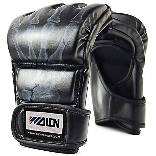 Tigerboss Solid Boxing Gloves Half Finger MMA Combat Gloves UFC Sanda Gloves Gym Professional Lightweight Protective Gloves Sports Gloves Leather Gloves. (Black) ()