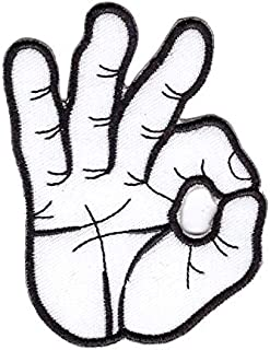 OK okay hand sign signal White Embroidered Cloth Iron On Patch