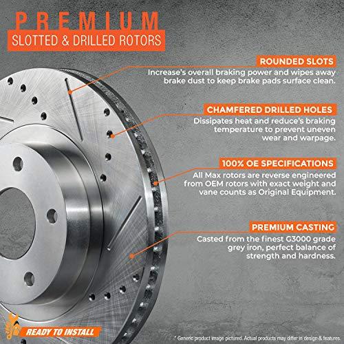 Ceramic Brake Pads For 2003-2006 Acura MDX Front eLine Drill Slot Brake Rotors