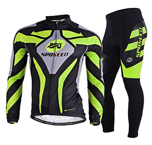 sponeed Men's Road Cycling Jersey Suits Fresh Bicycle Wear Long Sleeve Gel Padded Pants Asian L/US M Green