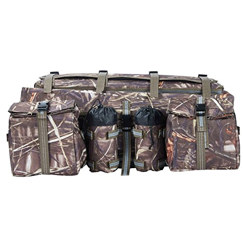 Pack Rack Atv Six - ATV Cargo Bag Rear Rack Gear Bag Made of 600D Waterproof Fabric with Topside Bungee Tie-Down Storage Padded-Bottom Multi-compartment Camo