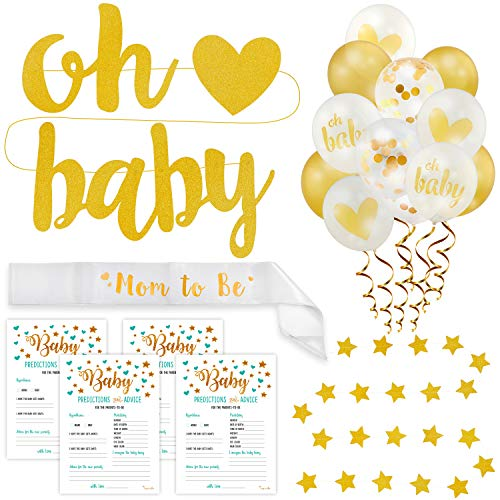 Baby Shower Decorations Kit Gold | Gender Neutral Boy or Girl | 75-in-1 Oh Baby Party Banner, Star Garland, Mom-to-Be Sash, 50 Predictions Advice Game Cards, 20 Latex Gold Balloons | PartyHooman by PartyHooman (Image #1)