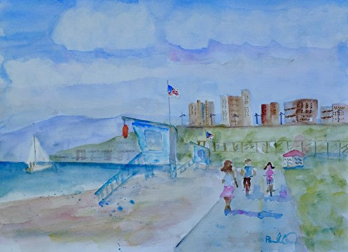 Afternoon Path - Summer Afternoon with Sailboats and Riding Bicycles on the Bike Path, Redondo Beach, CA, 8x10 inches, Hand Painted Watercolor, Not a Print