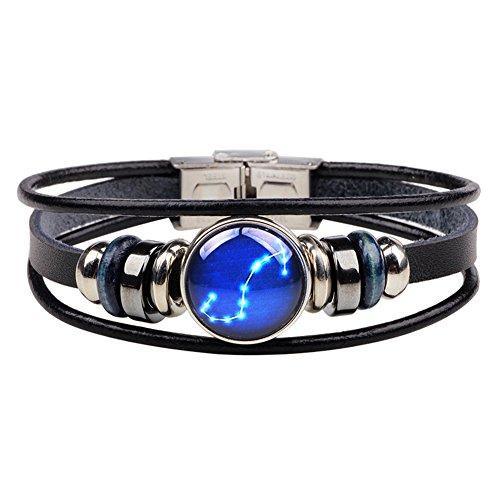 ellation Sign Multilayer Charm Astrology Horoscop Leahter Bangle Bracelet Wristband (Cancer Scorpio Zodiac)