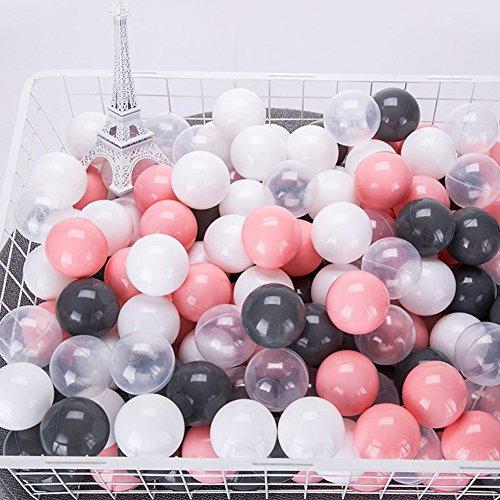 momowu 100Pcs 7CM Baby PVC Ocean Balls Toy Pool Pit Grey White Pink Transparent Mix Sport Game Stress Ball Toys Kids Tent ()