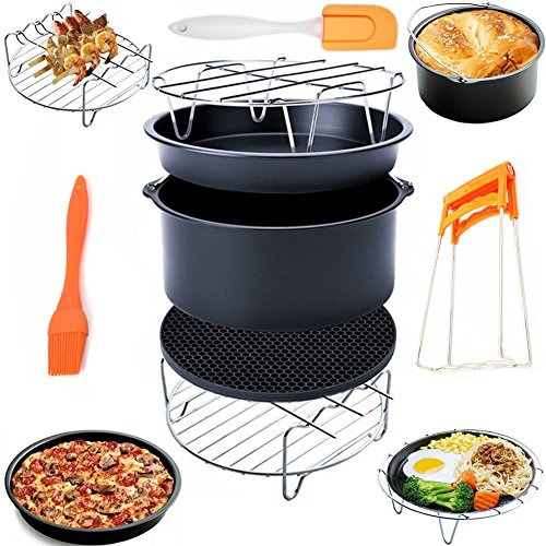 Deep Fryers Fryer Accessories Including Cake Barrel,Baking Pan,Grill,Pot Pad, Pot Rack with Mat, Silicone Brush Bellagione